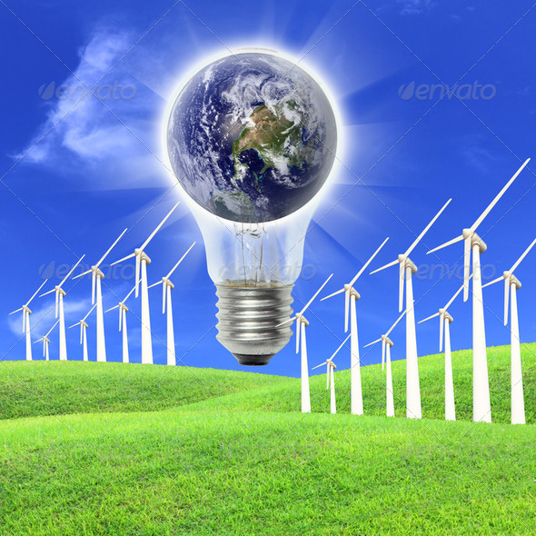 Wind turbines farm energy production to the world 2 - Stock Photo - Images