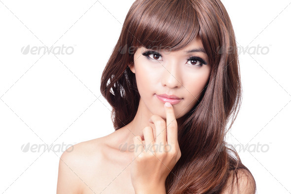 Pretty portrait closeup face and hand touching lips - Stock Photo - Images