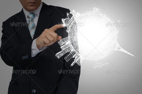 Hand of Business Man Touch Earth Globe. - Stock Photo - Images