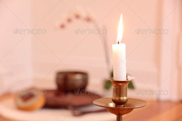 Orchid candle and decoration - Stock Photo - Images