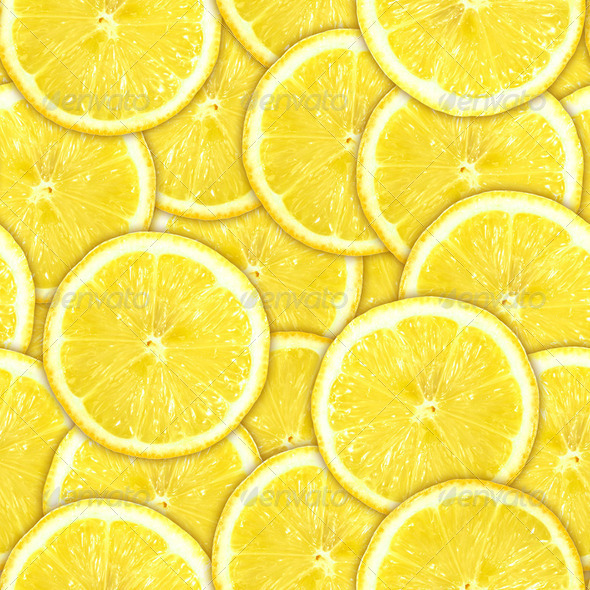 Seamless pattern of yellow lemon slices - Stock Photo - Images