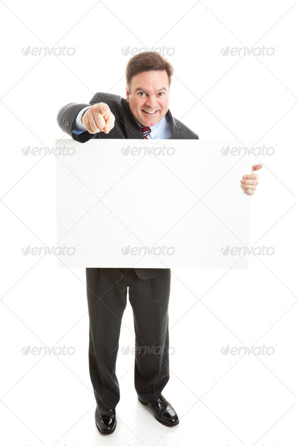 Stock Photo of Isolated Businessman with Sign - Stock Photo - Images