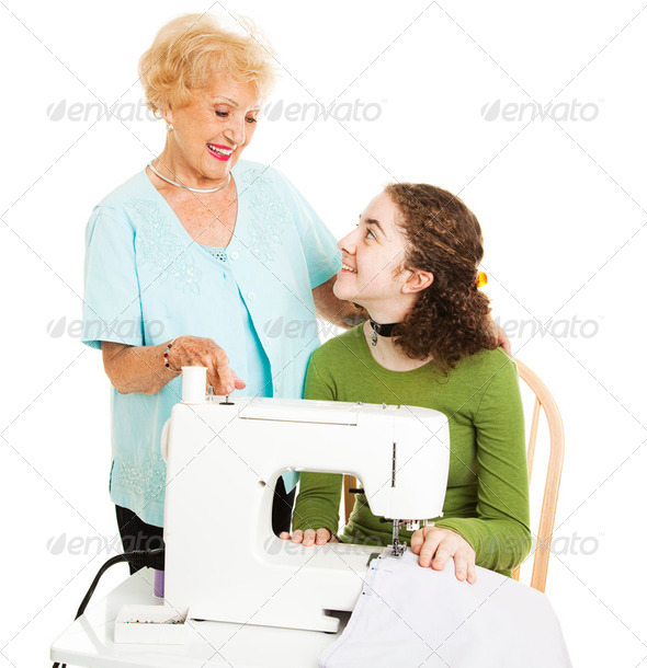 Help From Grandmother - Stock Photo - Images