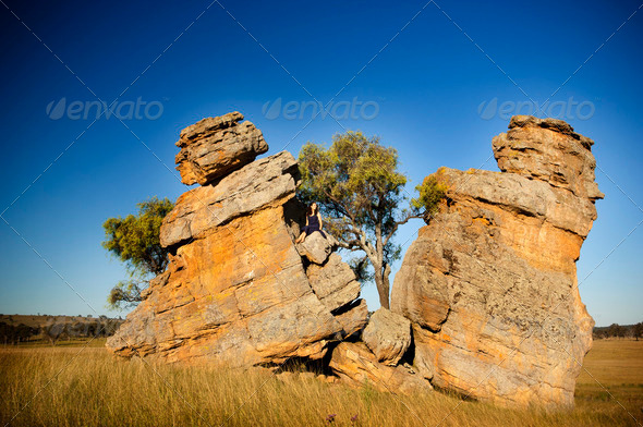 Split Rocks with Woman - Stock Photo - Images