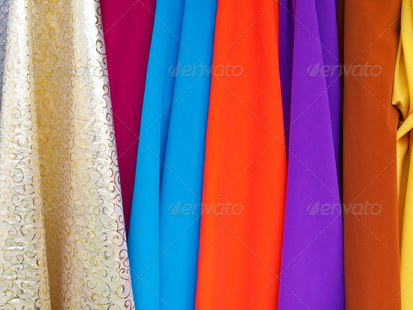 Various colourful fabrics - Stock Photo - Images