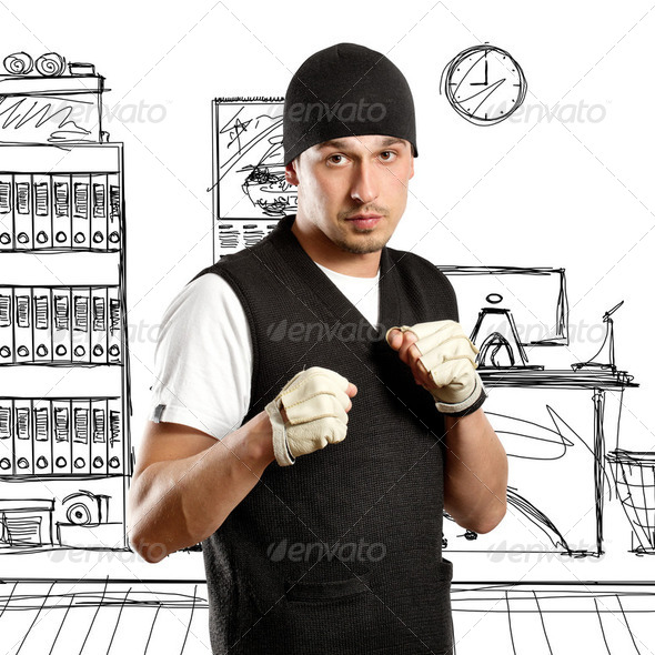 Man In Boxing Position - Stock Photo - Images