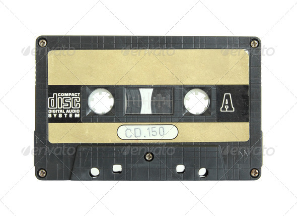 cassette tape isolated on white with clipping path - Stock Photo - Images