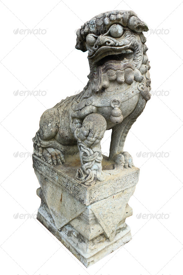 a chinese lion statue isolated on white background - Stock Photo - Images