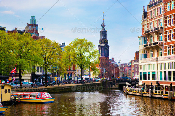 Amsterdam old town canal, boats. - Stock Photo - Images