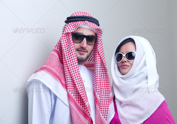 luxurious arabian couple posing  - Stock Photo - Images