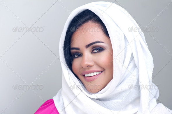 Portrait of a fresh young arabian lady with hijab  - Stock Photo - Images