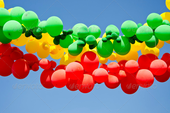 colorful balloons on sky background - Stock Photo - Images