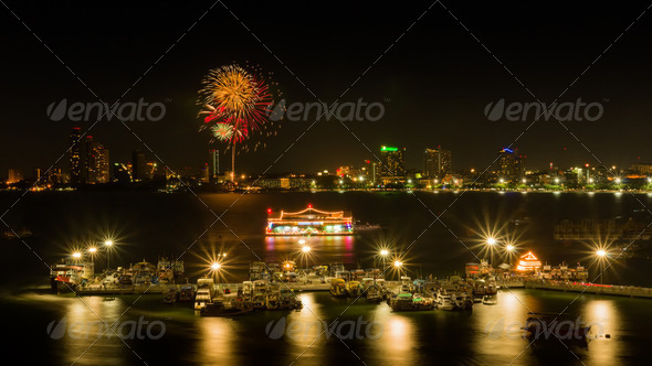 Fireworks at Pattaya bay - Stock Photo - Images