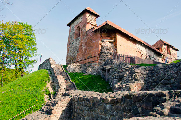 Vilnius historical Gediminas castle ruins - Stock Photo - Images