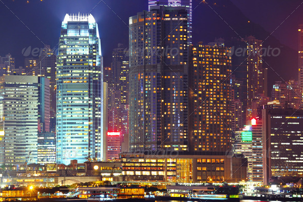 Hong Kong cityscape at night - Stock Photo - Images
