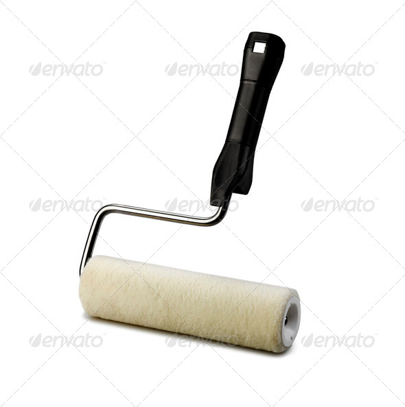 paint roller on white background - Stock Photo - Images