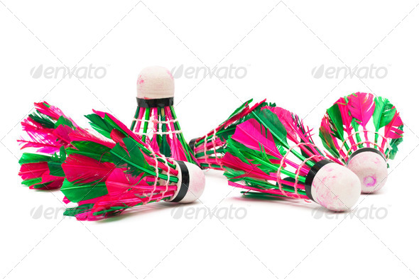 shuttlecock with feathers - Stock Photo - Images