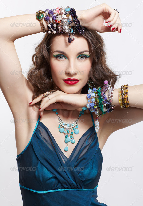 beautiful brunette woman - Stock Photo - Images