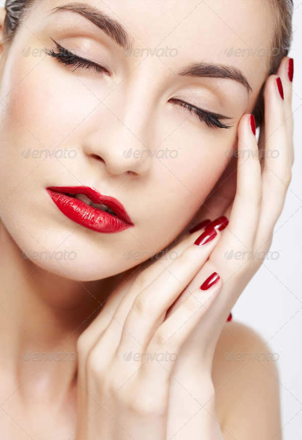 beautiful woman&#x27;s manicure - Stock Photo - Images