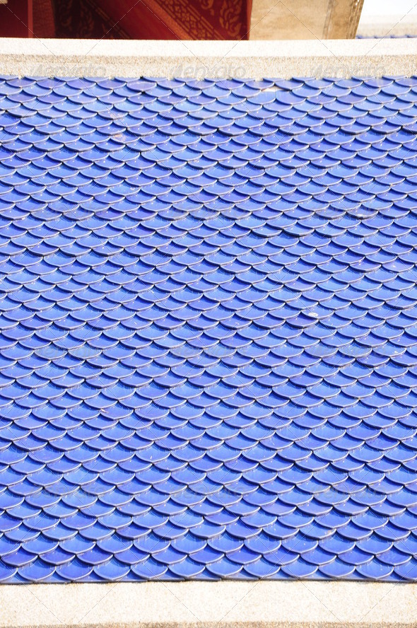 A traditional Japanese roof made of blue tile. - Stock Photo - Images