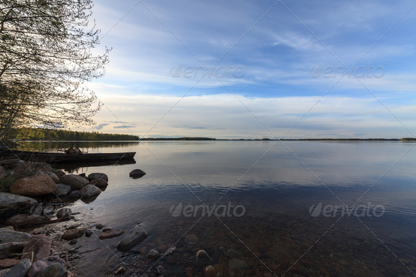 Blue Lake and Sky - Stock Photo - Images