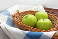 Green apples in the brown wicker basket - PhotoDune Item for Sale