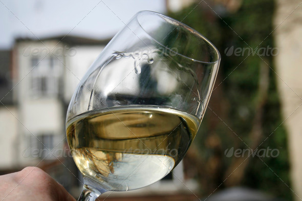 glass of white wine - Stock Photo - Images