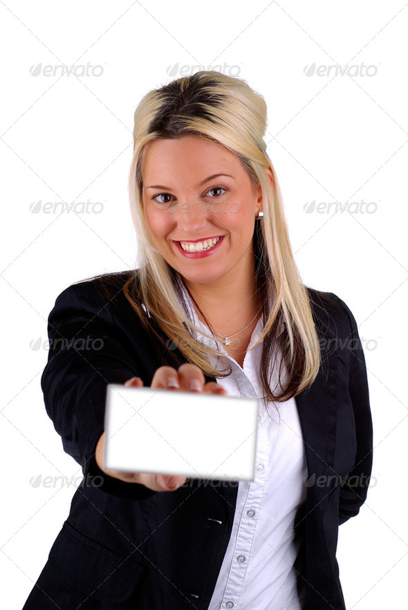 Businesswoman Holding A Card - Stock Photo - Images