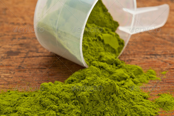 wheatgrass powder supplement - Stock Photo - Images