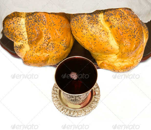 Special bread and wine for the Jewish Sabbath - Stock Photo - Images