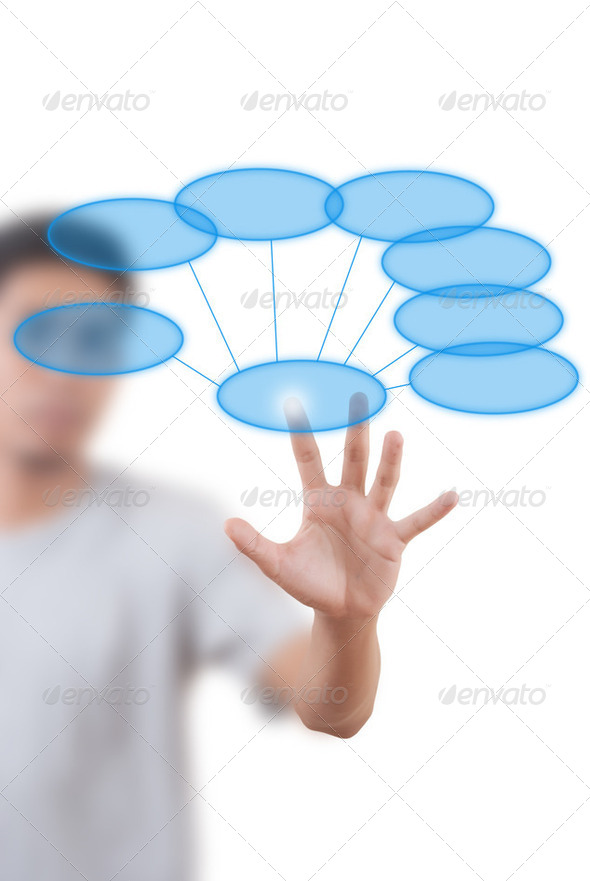 Businessman pushing Diagram. - Stock Photo - Images