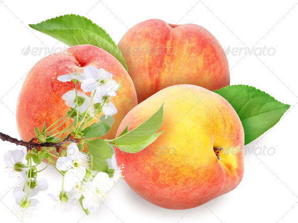 Fresh orange peaches with green leaf - Stock Photo - Images