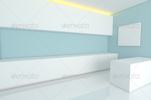 blue kitchen room - Stock Photo - Images