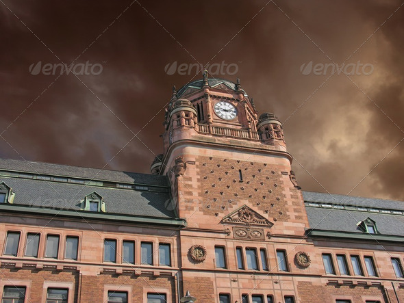 Storm approaching Post Office Building in Stockholm - Stock Photo - Images