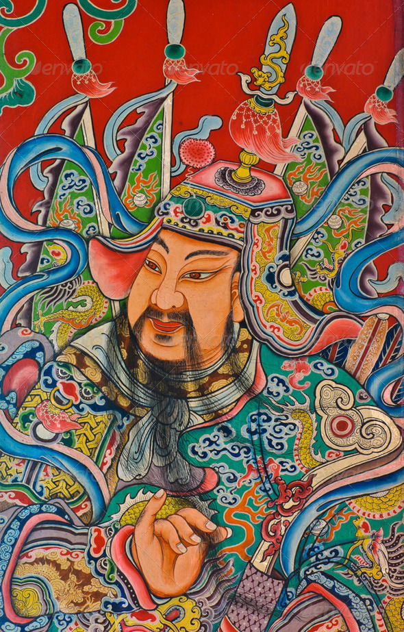 Chinese God painting - Stock Photo - Images