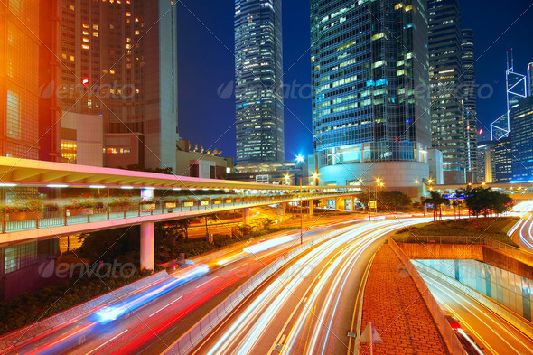 downtown city night - Stock Photo - Images