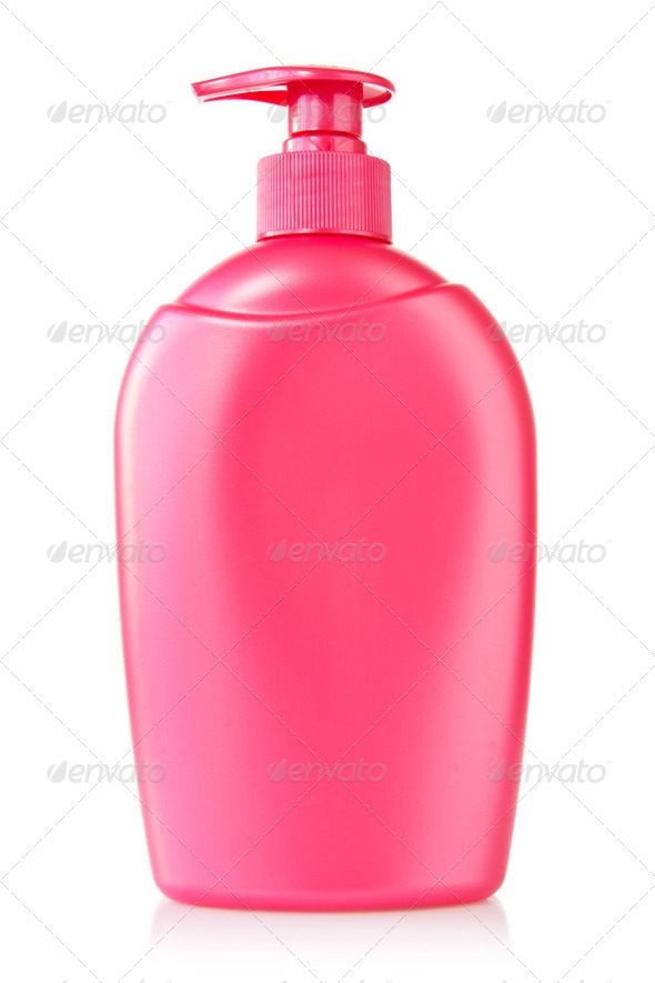 Red Plastic Bottle With Liquid Soap - Stock Photo - Images