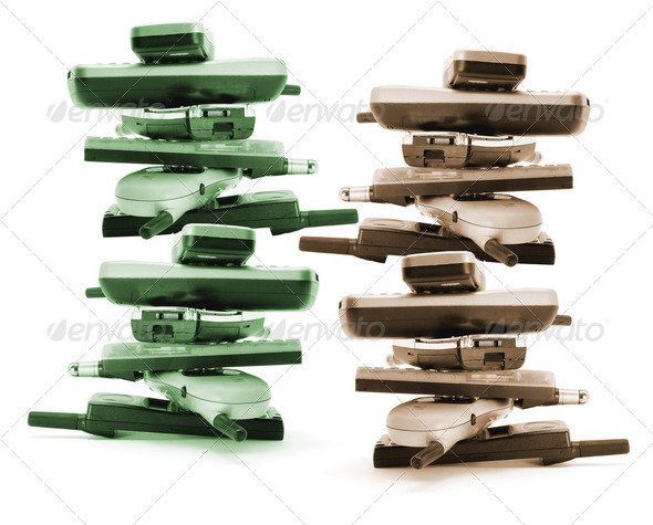 Stacks of Mobile Phones - Stock Photo - Images