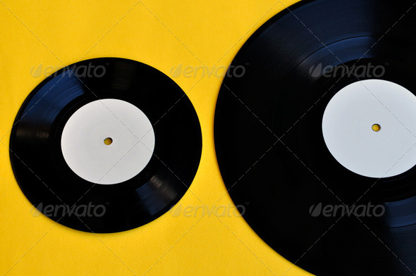 vinyl records lp and single - Stock Photo - Images