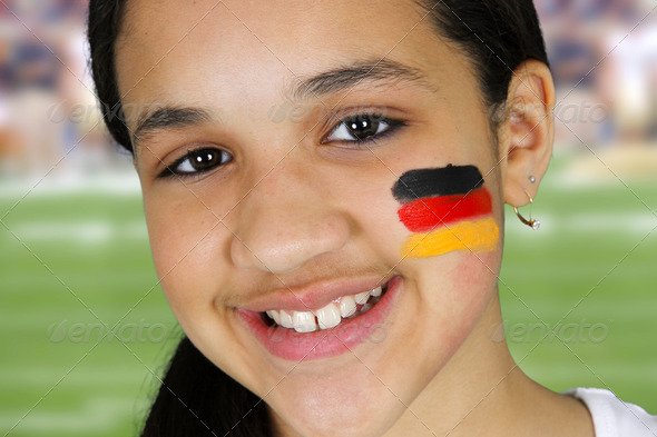 Girl With Flag - Stock Photo - Images