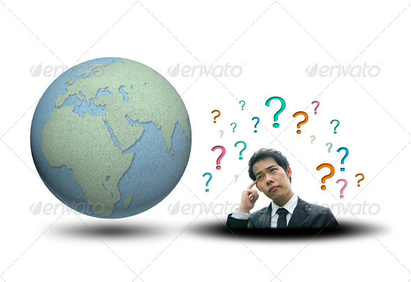 World map and earth globes business man thinking - Stock Photo - Images