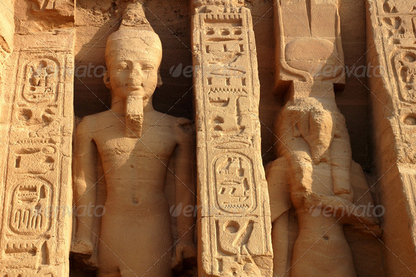 Landmark of the famous Ramses II at Abu Simbel in Egypt - Stock Photo - Images