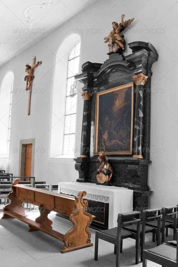 The interior of the Catholic Church. Switzerland - Stock Photo - Images