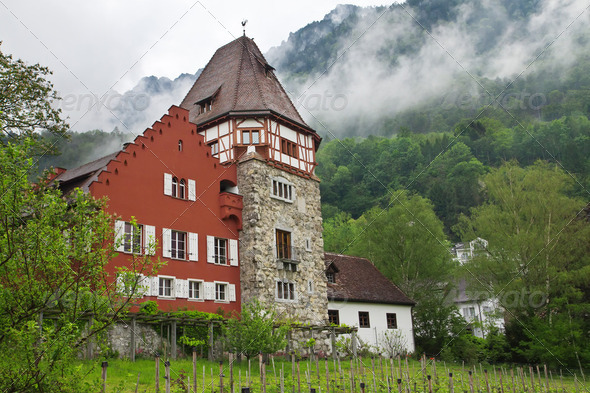 Old house in the Principality of Liechtenstein - Stock Photo - Images
