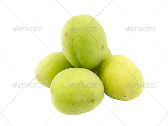 Group of fresh green plum - Stock Photo - Images