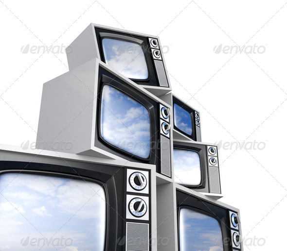 Heap of Retro TV with reflected sky - Stock Photo - Images