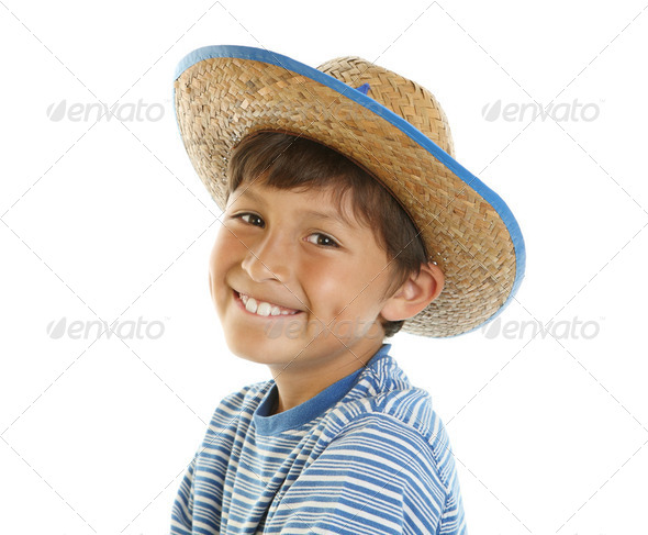 Young happy boy in Cowboy Hat - Stock Photo - Images