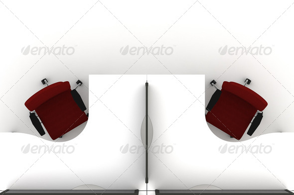 Workstation table-3d illustration - Stock Photo - Images