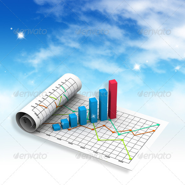 Business graph with chart  - Stock Photo - Images