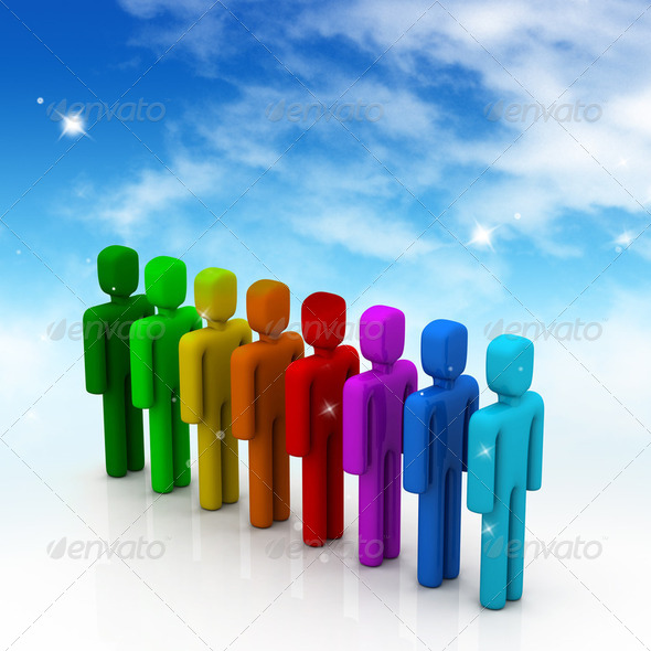 Colorful people in line - Stock Photo - Images